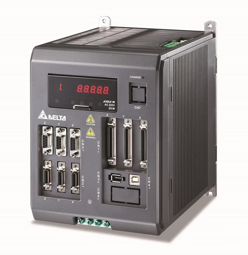 图2方案采用三轴驱控一体交流伺服驱动器ASDA-M系列,一机可控制切膜机的2组输送轴和刀轴,搭配交流伺服驱动器ASDA-A2驱动入膜轴,完成4....jpg