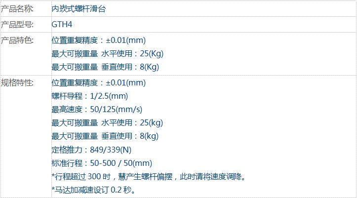 东佑达 GTH4 内崁式螺杆滑台
