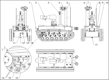 消防侦察灭火机器 人机械系统结构图