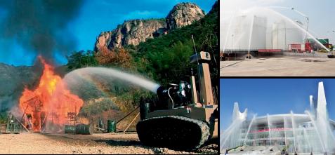 消防侦察灭火机器人实物图和消防演习场景